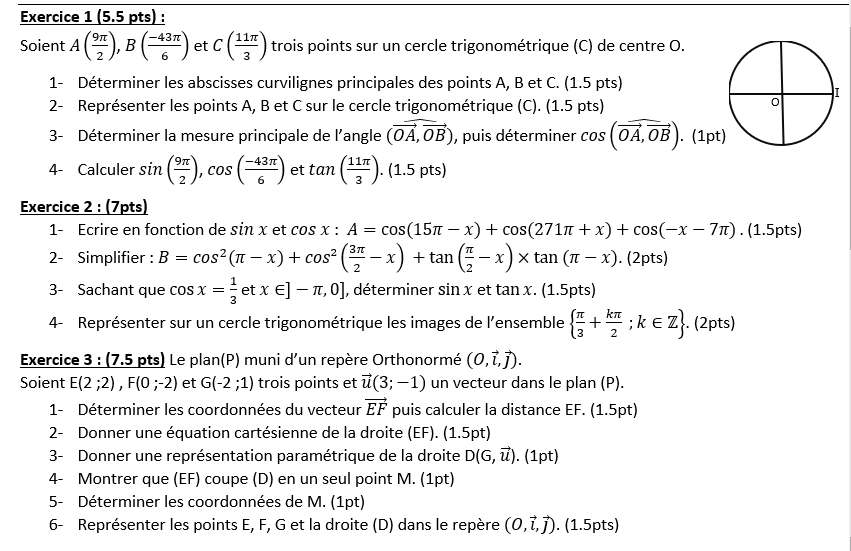 Évaluation : la droite dans le plan et le calcul trigonométrique I